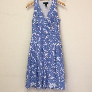 Lauren Ralph Lauren linen a-line blue white dress